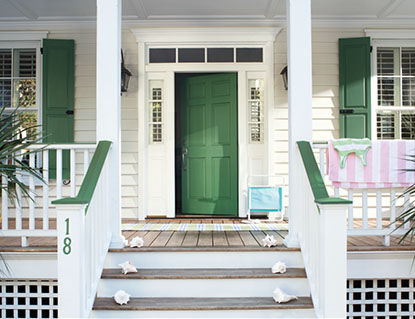 Image Of Yellow House Green Door Inside Greenblue Shutters For Paint In